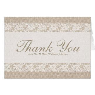 Burlap & Lace Thank You Card