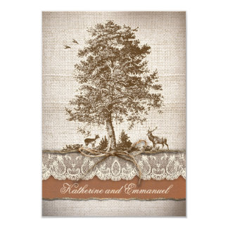 """burlap lace tree rustic country wedding RSVP cards 3.5"""" X 5"""" Invitation Card"""