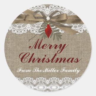 Burlap & Lace Vintage Christmas Holiday Sticker