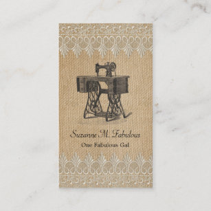 Sewing business cards business card printing zazzle ca burlap lace vintage sewing machine business card reheart Image collections