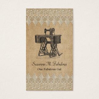 Burlap Lace Vintage Sewing Machine Business Card