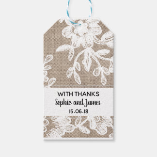 Burlap Lace Wedding Gift Tags