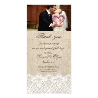 Burlap & Lace Wedding Thank You Photo Card
