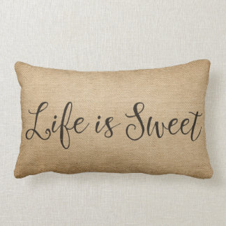 Burlap Life is Sweet Lumbar Pillow