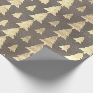 Burlap Linen Cottage Gold Brown Christmas Tree Wrapping Paper