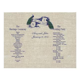 Burlap Linen Peacocks Rustic  Wedding Program Full Color Flyer