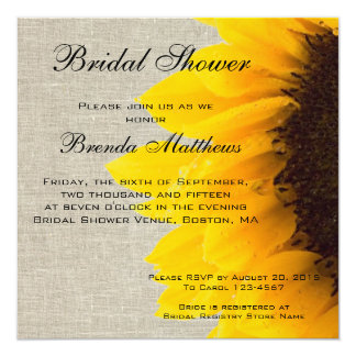 Burlap Linen Sunflower Bridal Shower Invitation