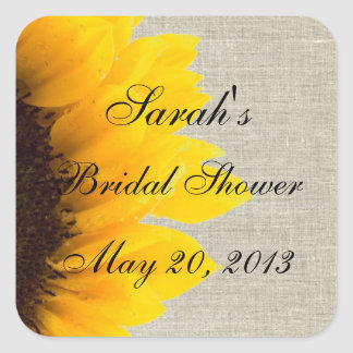 Burlap Linen Sunflower Photo Bridal Shower Square Sticker