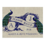 Burlap Linen Vintage Peacocks Rustic Wedding RSVP Postcard