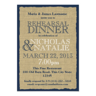 Burlap Look Rehearsal Dinner Navy Blue Card