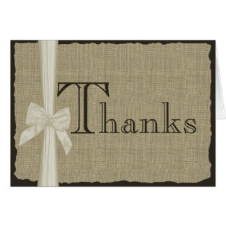 Burlap Look Thank You Card