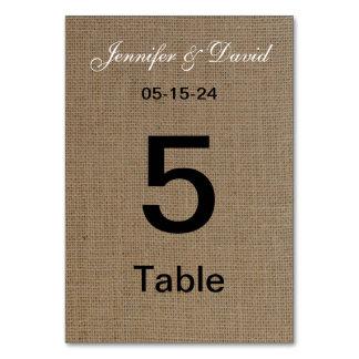 Burlap Look Wedding Table Number Cards