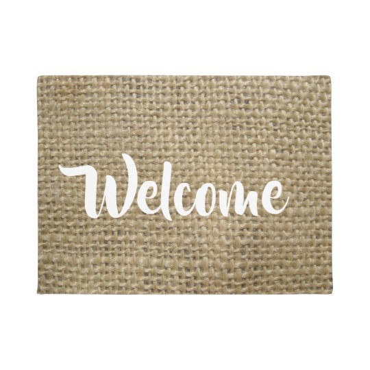 Burlap Look Welcome Doormat
