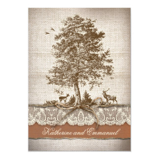burlap love tree rustic country wedding invite