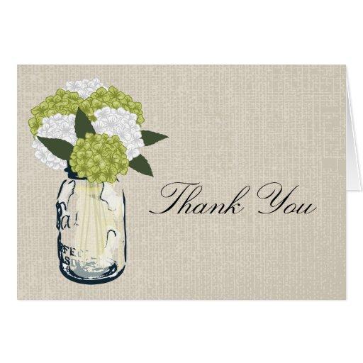 Burlap Mason Jar and Hydrangeas Greeting Card