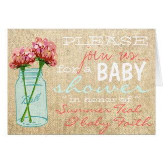 Burlap Mason Jar Turquoise Baby Shower Invitation