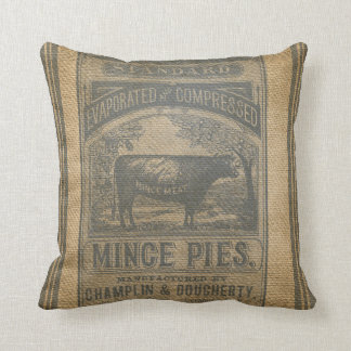 Burlap Mince Pies Vintage Advertisement Throw Pillow