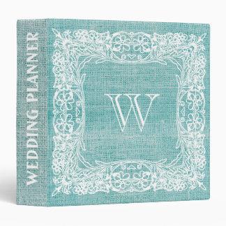 Burlap Monogram Wedding Floral Teal lace 3 Ring Binders