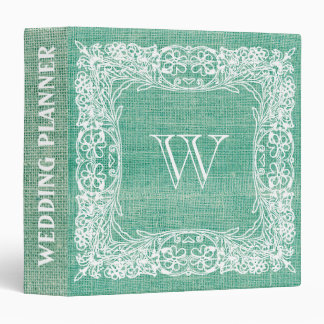 Burlap Monogram Wedding Green Ornamental lace Vinyl Binders