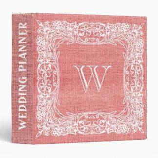 Burlap Monogram Wedding Red Ornamental lace Vinyl Binders