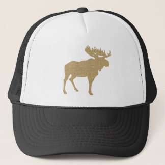 Burlap Moose Trucker Hat