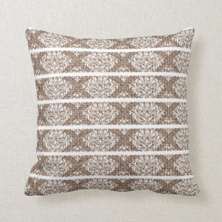 Burlap Natural Linen White Lace Stripes Cottage Throw Pillow