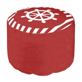 Burlap Nautical Design - Dark Red Stripes Pouf