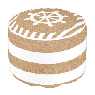 Burlap Nautical Helm on Tan Stripes | Print Pouf