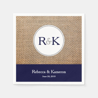Burlap & Navy Blue Monogrammed Wedding Paper Napkins