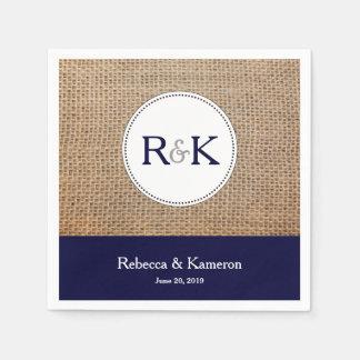 Burlap & Navy Blue Monogrammed Wedding Paper Napkins