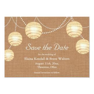 Burlap Party Lanterns Save the Date Invitation