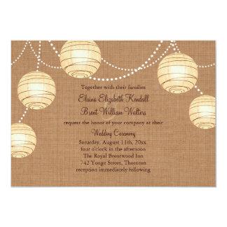 Burlap Party Lanterns Wedding Invitation