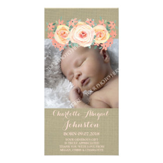 Burlap Peach Flowers Thank You Baby Shower Photo Card