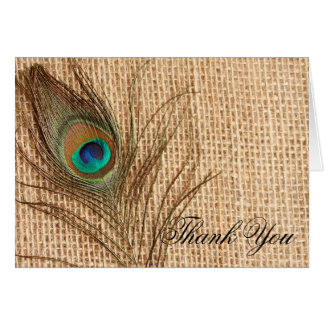 Burlap Peacock Feather Thank You Card