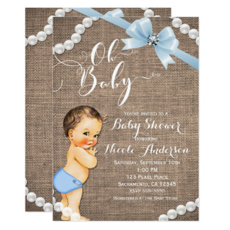 Burlap & Pearls Blue Bow Brunette Baby Boy Shower Card