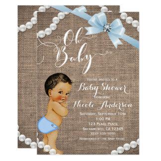 Burlap & Pearls Blue Bow Brunette Tan Baby Shower Card