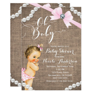 Burlap & Pearls Pink Bow Brunette Baby Girl Shower Card