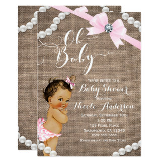Burlap & Pearls Pink Bow Brunette Tan Baby Shower Card