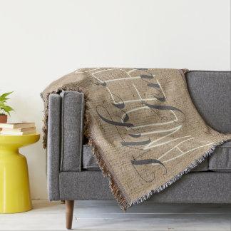 Burlap Personalized Wedding Bride & Groom's Names Throw Blanket