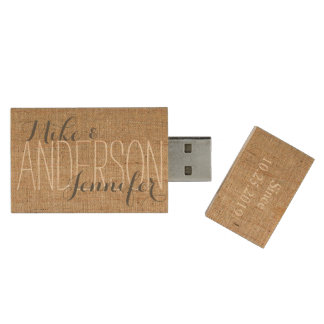 Burlap Personalized Wedding Names Date Gift Wood USB 2.0 Flash Drive