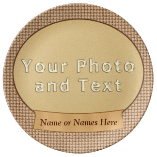 Burlap Photo Personalized Plates Porcelain Plates