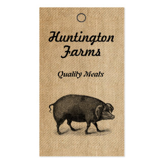Burlap Pig and Meat Procduct Tag Business Card Templates