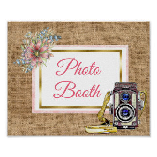 Burlap Pink Floral Photo Booth Wedding Sign Poster