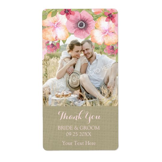 Burlap Pink Floral Photo Wedding Label Shipping Label