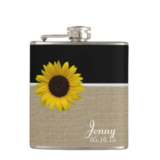 Burlap Print and Sunflower Hip Flask