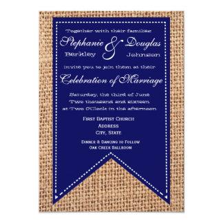 Burlap Print Blue Rustic Wedding Invitations
