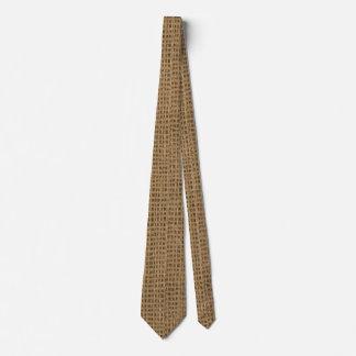 Burlap print tie