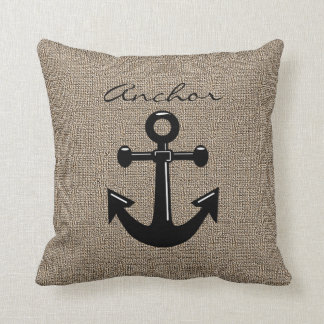 Burlap Print with Silhouette Anchor Throw Pillow