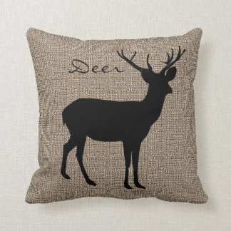 Burlap Print with Silhouette Deer Throw Pillow