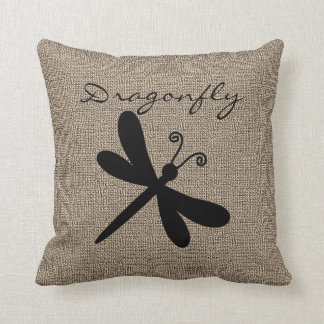Burlap Print with Silhouette Dragonfly Pillow
